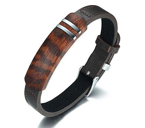 - MPRAINBOW Adjustable Rosewood Cufflinks Geniune Leather Stainless Steel Cuff Bracelet for Men