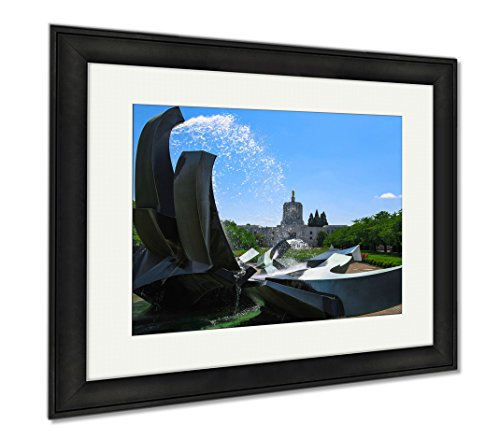Ashley Framed Prints Salem Oregon Capitol Building And Water Fountain, Wall Art Home Decoration, Color, 26x30 (frame size), Black Frame, - Salem Oregon Shop Frame