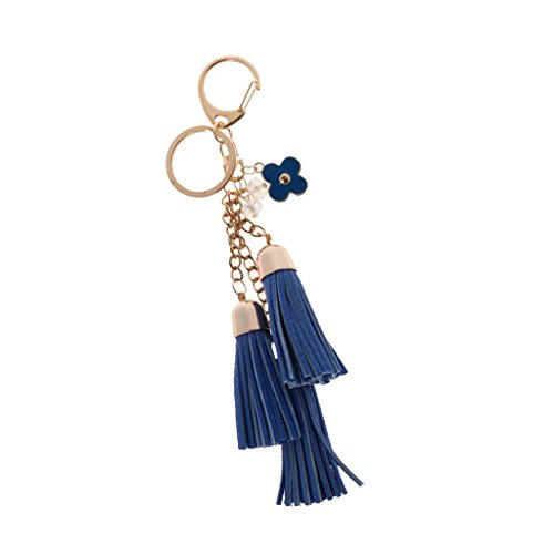 Porte-clé Glands Faux Cuir Porte Clef Pendentif Frange Mode Décor Sac Pochette Voiture - Bleu Royal