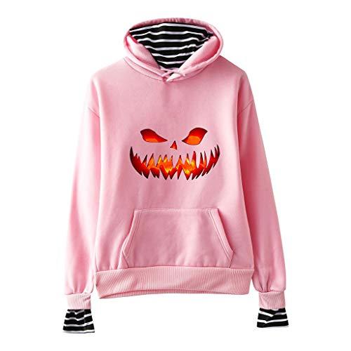 FEDULK Women's Hooded Sweatshirt Halloween Pumpkin Face Print Striped Fake Two-Piece Hoodies Pullover Jumper(Pink, XX-Large)