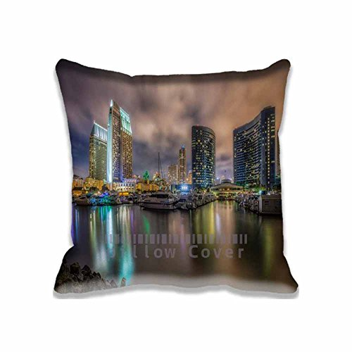 Custom Design Downtown San Diego Marina at Night Pillow Cases Zippered , 20x20 Square United States Pillowcase - California Cushion Covers Two Size Print (Downtown San Diego Halloween)