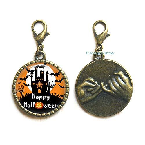 Cioaqpyirow Halloween Jewelry Halloween Zipper Pull Glass Tile Zipper Pull Witch Jewelry,Holiday Jewelry,HO0E293 -