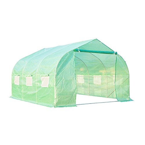 Outsunny 12′ x 10′ x 7′ Portable Walk-In Garden Greenhouse – Deep Green