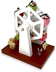 Juguete rueda de la fortuna de madera artesanal.