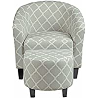 Pulaski DS-2278-900-5 Upholstered Barrel Accent/Living Room Chair & Ottoman, 29.13' L x 27.95' W x 30.31' H, Grey