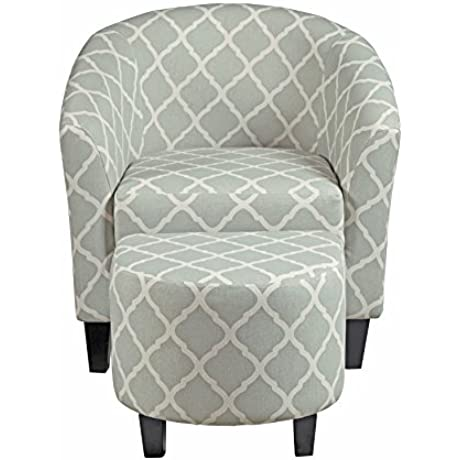 Pulaski DS 2278 900 5 Upholstered Barrel Accent Living Room Chair And Ottoman Grey