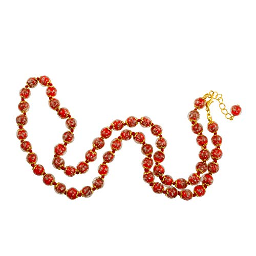 Just Give Me Jewels Genuine Venice Murano Sommerso Aventurina Glass Bead Long Strand Necklace in Red, 26+2
