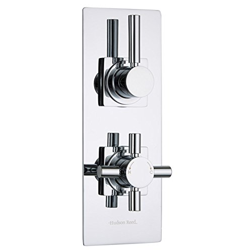 Hudson Reed - Tec Thermostatic 2 Outlet Twin Shower Faucet Diverter Valve in Chrome Plated - Concealed Thermostat - Slim Trim Plate & Round Lever Control - Solid Brass Body by Hudson Reed