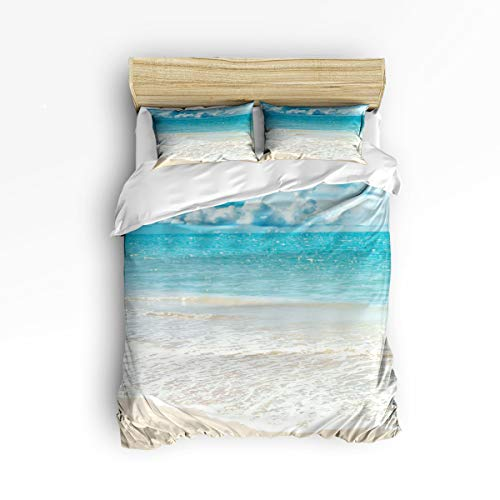 FunDecorArt 3 Piece Polyester Fabric Bedding Set with Zipper Closure Queen Size, Beach Wind Wave Sky Sea Comforter Cover Set Duvet Cover with 2 Pillow Shams for Girls/Boys/Kids/Children/Teen/Adults