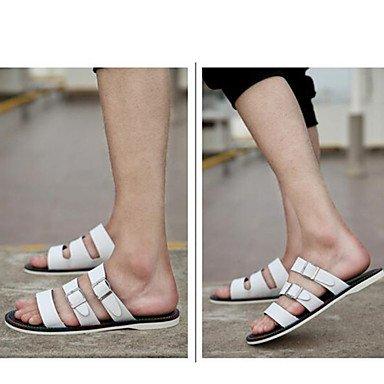 Sandalias de verano zapatos de hombre / Exterior / atléticos casual Zapatillas de cuero Negro / Blanco Blanco