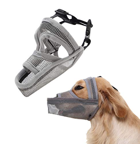 Crazy Felix Nylon Dog Muzzle for Small Medium Large Dogs, Air Mesh Breathable and Drinkable Pet Muzzle for Anti-Biting Anti-Barking Licking (M, Grey-Masked) (Long Snout)