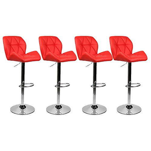 PULUOMIS 360 Degree Swivel Adjustable Bar Stool, Mordern Faux Leather Padded with Back Pub Chair, Set of 4, Red
