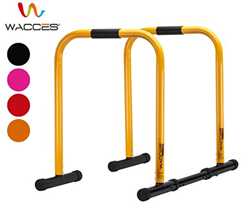 Wacces Heavy Duty Functional Fitness Station Stabilizer Dip Stands - Yellow Parallel Bar