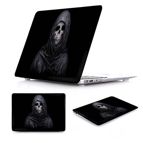 Black Skull Case Crystal (Batianda - AIR 13-inch Case Cool Skull Bone Black Printed Crystal Hard Protective Cover Case for MacBook Air 13.3