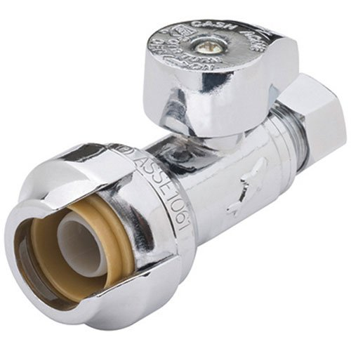 SharkBite 23337-0000LFA Straight Stop Valve 1/2 inch x 1/4 inch, Compression Fitting, Water Valve Shut Off, Push-to-Connect, PEX, Copper, CPVC, PE-RT