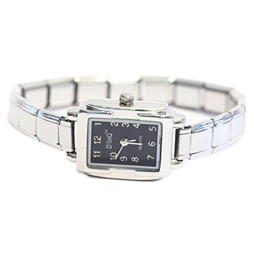 Black Rectangle Italian Charm Watch