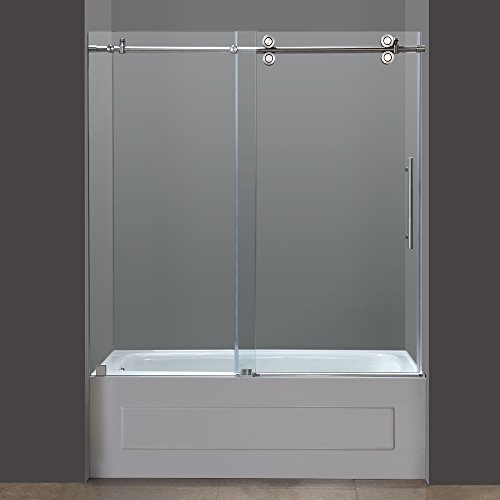 Aston TDR978-SS-60-10 60-Inch x 60-Inch Completely Frameless Tub-Height Shower Sliding Door, Stainless Steel Finish by Aston (Image #1)