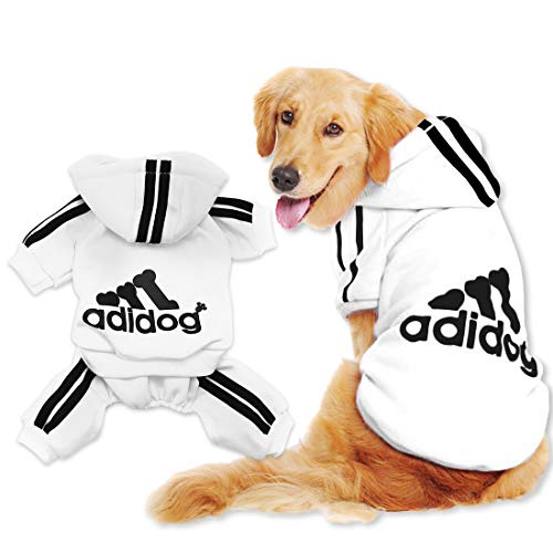 Scheppend Adidog Pet Clothes for Dog Cat Puppy Hoodies Coat Winter Sweatshirt Warm Sweater Dog Outfits, White XXXX-Large from Scheppend