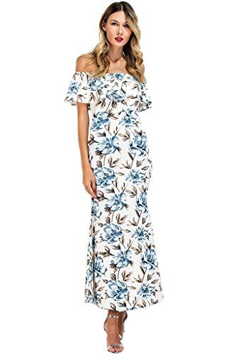 Journal Chics Floral Féminin Épaule Imprimé Au Large Maxi Robe Longue À Volants Imprimé Floral