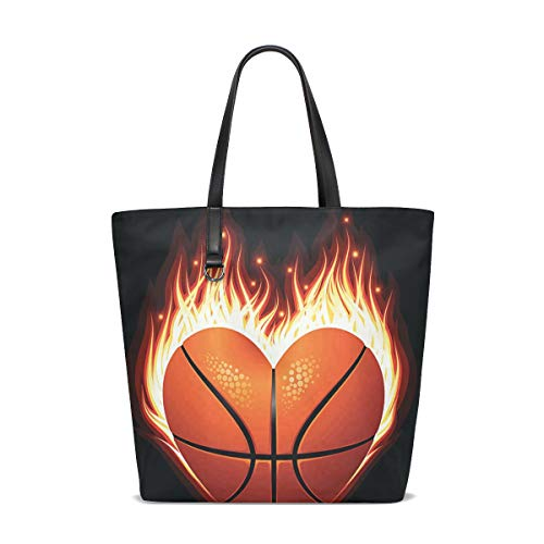 Heart Shaped Basketball Tote Bag Purse Handbag Womens Gym Yoga Bags for Girls