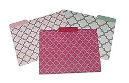 Quatrefoil Pattern Pinks Gray Grey File Folders (Set of 9)