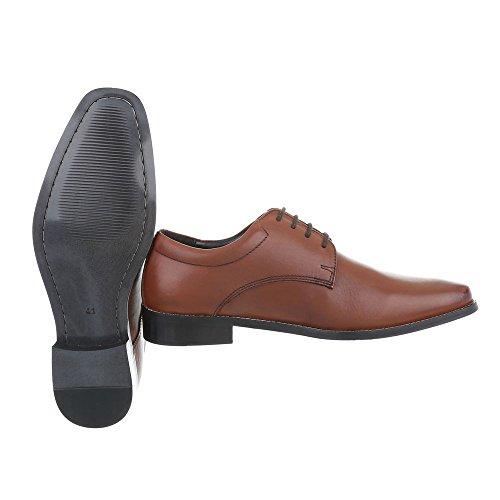 Budapester Stil Leder Herrenschuhe Oxford Blockabsatz Schnürer Schnürsenkel Ital-Design Business-Schuhe Camel