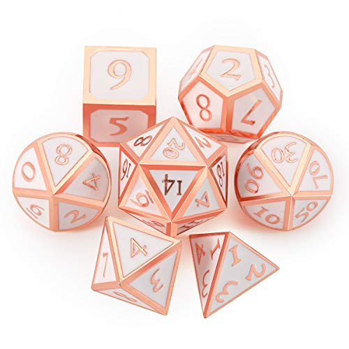 UONUOT 7pcs DND Metal Dice Set with Black Pouches D&D TabletopGames Embossed Heavy Polyhedral Metal Dice for Dungeons and Dragons Role Playing Games RPGs/DND/Set,Math Teaching(Copper/Rosegold White)