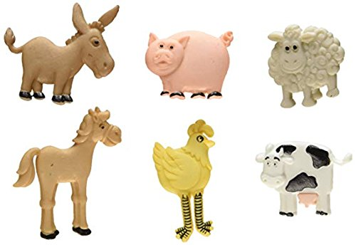 Jesse James Co Dress It up Decorative Buttons - Farm Animals - 6 Buttons - Pig, Cow, Sheet, Chicken, Horse, Donkey