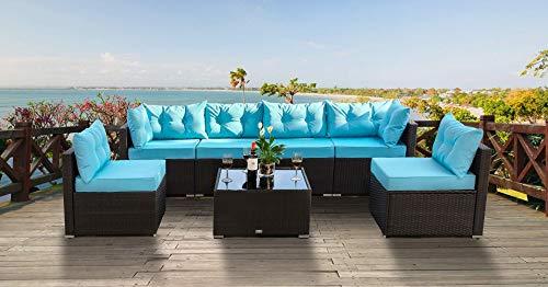 (Amolife Patio Sofa 7-Piece Set Outdoor Furniture Sectional All-Weather Wicker Rattan Sofa Back Cushions, Garden Lawn Pool Backyard Outdoor Sofa Wicker Conversation Set)
