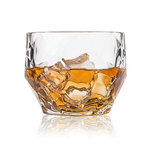 GLASKEY Whiskey Glass Set of 4-10 oz Lead Free Crystal Old Fashioned Glass, Cocktail Cool Rocks Glass Tumbler for Bourbon, Irish Whisky, Brandy and More, Scotch Glasses (Clear)