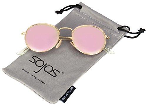 SojoS Mode Rund Polarisiert Damen Herren Sonnenbrille Mirrored Lenses Unisex Sunglasses SJ1014 With Gold Frame/Rosa Lens