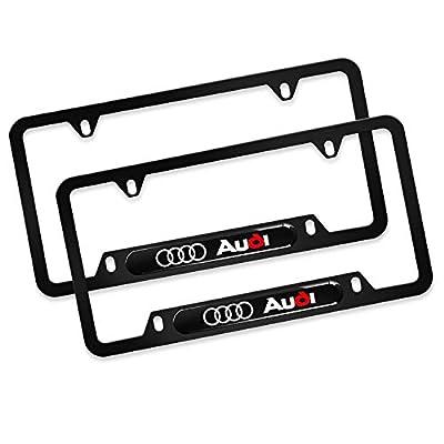 Sparkle-um 2Pcs Newest Custom Personalized 4 Hole Matte Aluminum Alloy Audi Logo License Plate Frame with Screw Caps Cover Set,Applicable to US Standard car License Frame, for Audi(Matte Black): Automotive