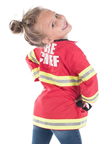 Born Toys Fireman Costume Coat Includes Badge and Firefighter Name TAG for Kids Role Play and Dress up Clothes -