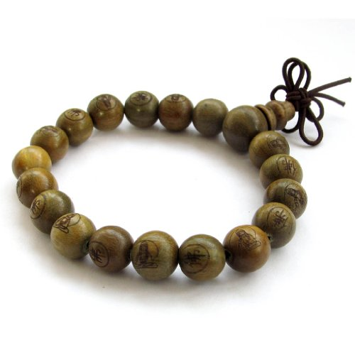 Tibetan Buddhist Green Sandalwood Beads Prayer Wrist Bracelet - Tibet Green