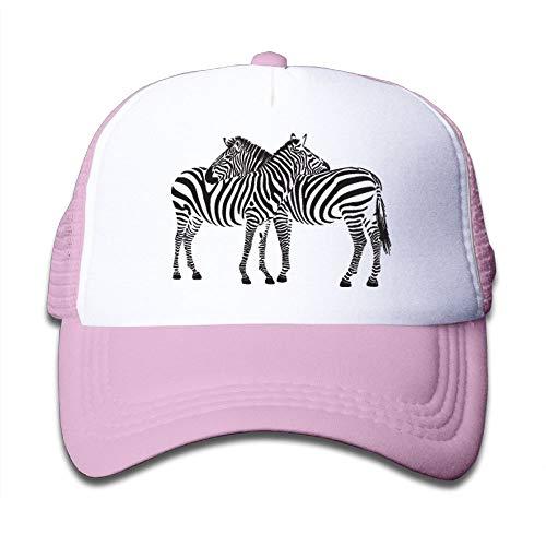 Zebra Newsboy - Tazprab Kids Trucker Hat,Two Zebras Mesh Baseball Cap Boys&Girls