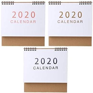 Tischkalender Kalendarien Einfache Desktop-Stehen Papier 2020 Doppel Coil Kalender Protokoll Tagesablauf Tabelle Planer Jahr Agenda Schreibtisch-Organisator (Color : L)