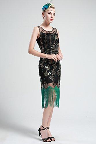BABEYOND Vestito Abito Anni 20 Donna Vestito Gatsby Donne 1920s Abiti Flapper Dress Vestito da Sera Frange Gatsby Veatito con Paillette Impreziosito Senza Maniche (Nero, XL/ UK18/ EU46)
