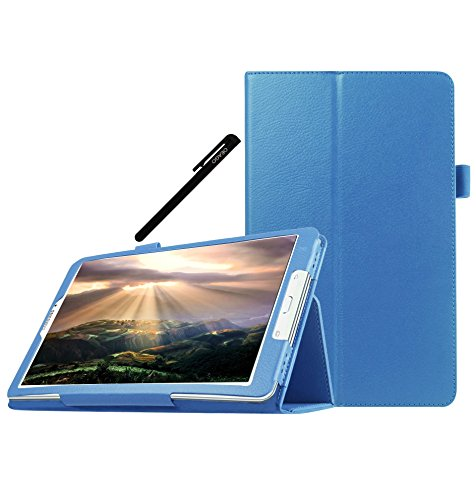 Samsung Galaxy Tab E (9.6 inch) Case Cover Accessories - PU Leather Stand Folio Case Cover For Samsung Galaxy Tab E (9.6'' inch) - Sky Blue (Galaxy Pedestal)