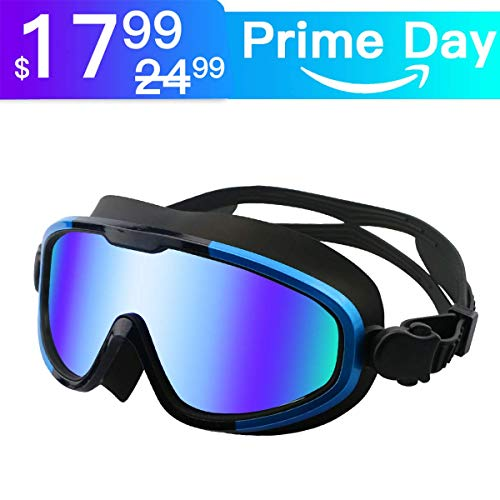 (Aquior Blue Swim Goggles, Big Frame Swimming Glass Leakproof Anti Fog UV Protection, 180 Wide-Vision Swim Mask Goggles for Adult Youth Men Women)