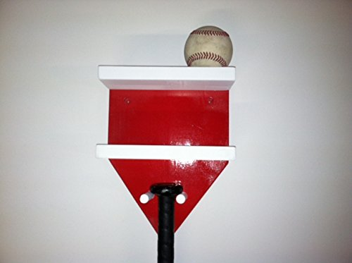 Baseball Bat Rack and Ball Holder Display Meant to Hold 1 Full Size Bat and 4 Baseballs Red White by MWC
