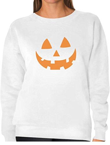 [Orange Pumpkin Face Jack O' Lantern Halloween Costume Women Sweatshirt X-Large White] (Jack White Halloween Costume)