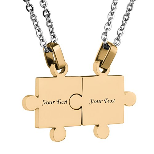Custom Engraving Name/Date Stainless Steel Matching Jigsaw Puzzle Pendant Chain Necklace For Couple's Gift (gold)