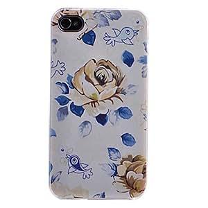 TY- Florecimiento de la flor y de Awing Bird Patrón Transparente Frame nuevo caso para el iPhone 4/4S