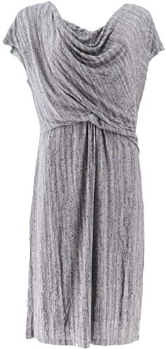 Halston Frost Print Draped Cowl Neck Cap SLV Dress Urban Grey 6 New A269413 from H by Halston