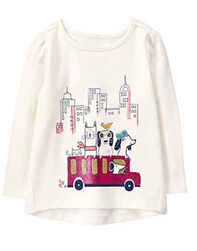 Gymboree Toddler Girls' Easy Li'l Long Sleeve Graphic Tee, White, 4T