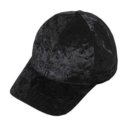 Crushed Velvet Velcro Back Baseball Cap  - Black Velvet Hat Shopping Results