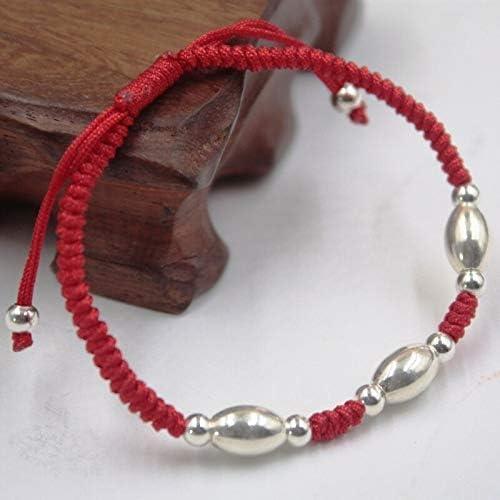 New Real S925 Sterling Silver Chain Women Bless Bead Red Knitted Bracelet Davitu Bracelets /& Bangles