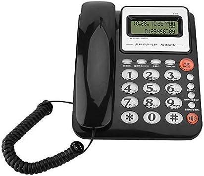 Teléfono con Cable, teléfono Fijo Pantalla Grande Identificador de Llamadas Pantalla Teléfono Fijo Teléfono sin batería Teléfono Fijo Negro/Blanco(Black): Amazon.es: Electrónica