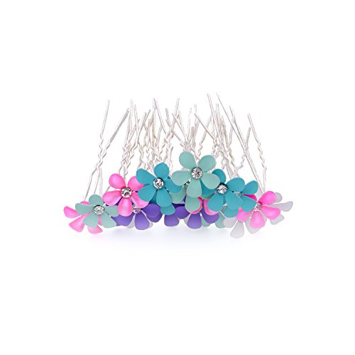 Bridal Wedding Flower Hair Pins 5 Colors Clear Crystal Clips for Women Hair Styling (20 Pcs) free shipping