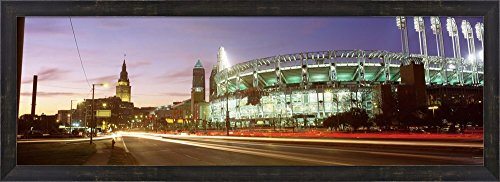Low angle view of a baseball stadium, Jacobs Field, Cleveland, Ohio, USA by Panoramic Images Framed Art Print Wall Picture, Espresso Brown Frame, 38 x 14 inches